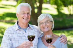 Happy senior couple drinking at the park Stock Photos