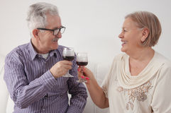 Happy senior couple drinking wine at home. Happy senior men and women couple sitting together at home smiling and drinking wine stock images
