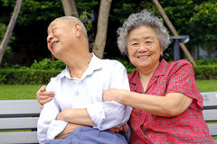 A happy senior couple embraced Stock Images