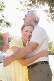 Happy senior couple embracing in the city Stock Photography