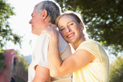Happy senior couple embracing in the city Stock Image