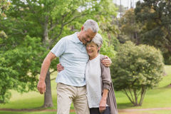 Happy senior couple embracing in park Royalty Free Stock Photography