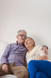 Happy senior couple enjoying the embrace. On the couch Stock Images