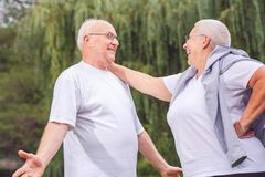 Happy senior couple enjoying a moment and talking together royalty free stock image