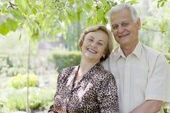 Happy senior couple enjoying the nature stock photo