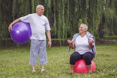 Happy senior couple with fitness balls in park royalty free stock image