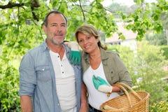 Happy senior couple gardening Royalty Free Stock Image