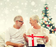Happy senior couple with gift box at home Stock Images