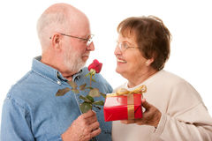 Happy Senior Couple with Gift and Red Rose Stock Photos