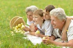 Happy senior couple with grandchildren Royalty Free Stock Photography