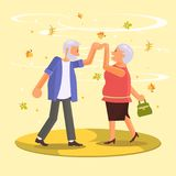 Happy senior couple. Dancing among falling leaves in autumn. Grandparents characters isolated. Vector illustration eps 10 stock illustration