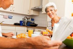 Happy Senior Couple Having Breakfast stock photos