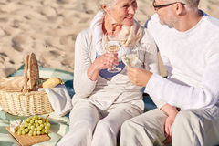 Happy senior couple having picnic on summer beach Stock Images