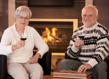 Happy senior couple having wine Royalty Free Stock Photo
