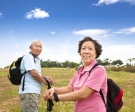 Happy Senior couple hiking Royalty Free Stock Image