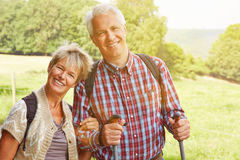 Happy senior couple hiking Royalty Free Stock Photo