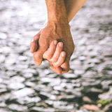Happy senior couple holding hands Royalty Free Stock Photos