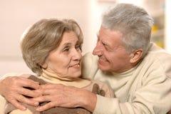 Happy senior couple at home Stock Photos