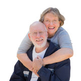 Happy Senior Couple Hugging and Laughing on White Royalty Free Stock Photo