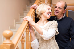 Happy senior couple indoors Stock Images