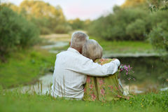 Happy  Senior couple at lake Royalty Free Stock Images