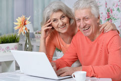 Happy senior couple with laptop Stock Photography