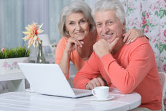 Happy senior couple with laptop Royalty Free Stock Image