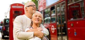 Happy senior couple on london street in england Royalty Free Stock Photo