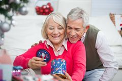 Happy Senior Couple Looking At Christmas Gift Royalty Free Stock Images