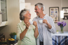 Happy senior couple looking at each in kitchen Stock Images