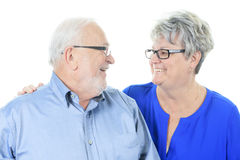 Happy senior couple in love. Isolated over white Stock Images