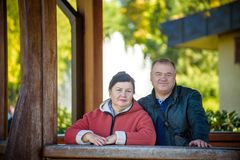 Happy senior couple in love. Park outdoors royalty free stock photos