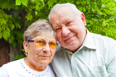 Senior couple in the park. Happy senior couple in love posing in the park outdoor Stock Images