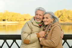 Happy senior couple  near river Royalty Free Stock Photos