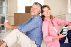 Happy senior couple in new home Royalty Free Stock Photo