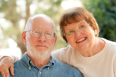 Happy Senior Couple Outdoor Portrait Stock Photo