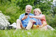 Happy senior couple outdoor Stock Image