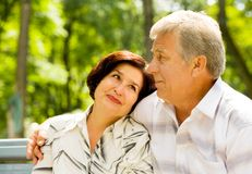 Happy senior couple outdoors Royalty Free Stock Images