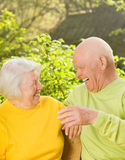 Happy senior couple outdoors Stock Image