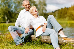 Happy senior couple outdoors in spring Royalty Free Stock Photo