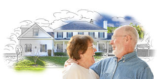 Happy Senior Couple Over House Drawing and Photo on White Royalty Free Stock Image