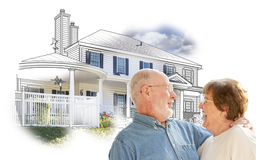 Happy Senior Couple Over House Sketch and Photo on White. Happy Senior Couple Over House Drawing and Photo Combination on White stock image