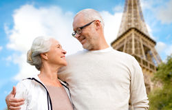 Happy senior couple over paris eiffel tower Royalty Free Stock Photography
