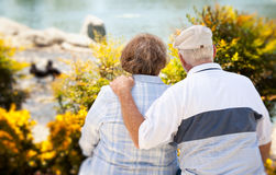 Happy Senior Couple in The Park Royalty Free Stock Photo