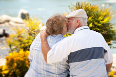 Happy Senior Couple in The Park Royalty Free Stock Images
