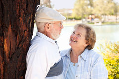 Happy Senior Couple in The Park Royalty Free Stock Photography