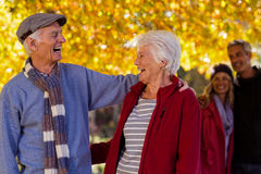 Happy senior couple at park during autumn Royalty Free Stock Image