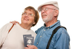 Happy Senior Couple with Passports and Bags Royalty Free Stock Photography