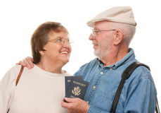 Happy Senior Couple with Passports and Bags Royalty Free Stock Images