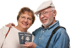Happy Senior Couple with Passports and Bags on White Stock Photos